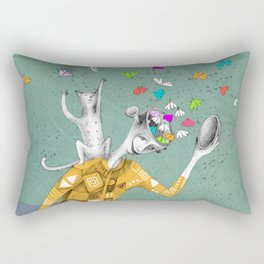 the imaginative robot clown and his cat friend Rectangular Pillow