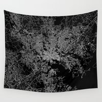 maryland Wall Tapestries featuring Baltimore map Maryland by Line Line Lines