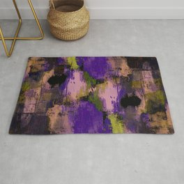 Abstract Nature - Textured, blue, yellow, pink, lilac, purple, black and orange painting Rug
