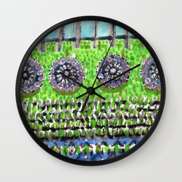 High Garden Pattern with Fence Wall Clock