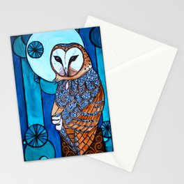 Barn Owl Art Nouveau Panel in blue Stationery Cards