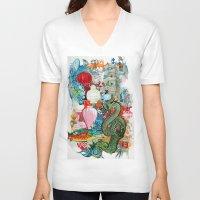 dragon V-neck T-shirts featuring Dragon by oxana zaika
