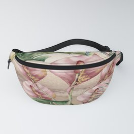 Tropical Flamingo Floral Print Pattern with Philodendron and majesty palm leaves  Fanny Pack