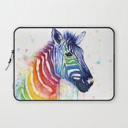 Zebra Rainbow Watercolor Whimsical Animal Laptop Sleeve