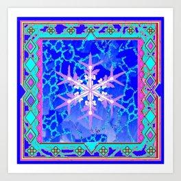Blue Frozen Snowflake Abstract Art Art Print