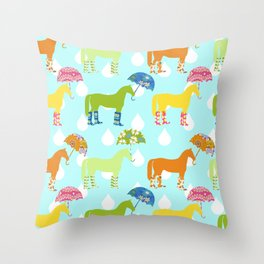 Rainy Day Ponies 2 Throw Pillow