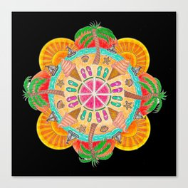Summer Mandala on black Canvas Print
