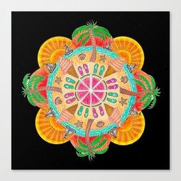 Summer Mandala on black Canvas Print