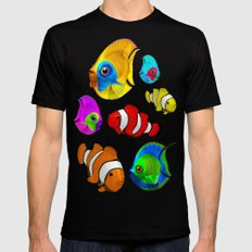 Tropical Fishes Pattern Black X-LARGE Mens Fitted Tee