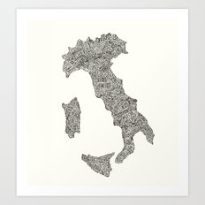 Lettering map of Italy Art Print