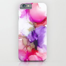 Alcohol Ink Pink and Gold Abstract iPhone Case