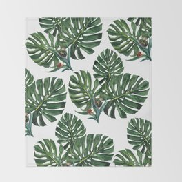 Monstera leaf with snails Throw Blanket
