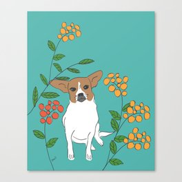 Dog in a flower garden Canvas Print