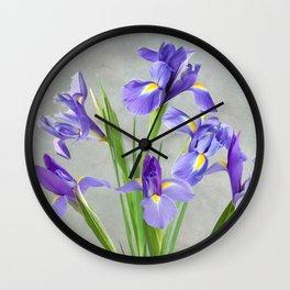 Purple Iris Flowers Wall Clock