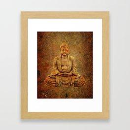 Sand Stone Sitting Buddha Framed Art Print
