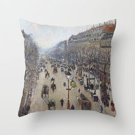 Camille Pissarro  -  Boulevard Montmartre  Morning  Cloudy Weather Throw Pillow