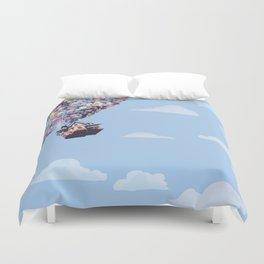disney pixar up.. balloons and sky with house Duvet Cover