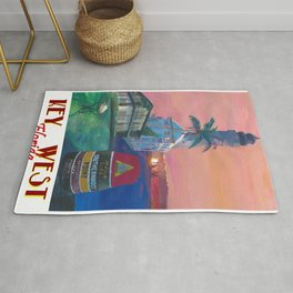 Key West Florida Southernmost Dreams Retro Travel Vintage Poster Rug