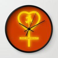 sailor venus Wall Clocks featuring Sailor Venus by trekvix