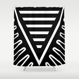 Feather Root Black Shower Curtain