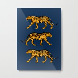 Tigers (Navy Blue and Marigold) Metal Print