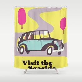 Visit the Seaside vintage car poster Shower Curtain