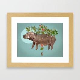 El espacio cortopunzante. Bestiario: Hipopótamo Framed Art Print