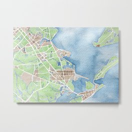 Coastal Map of Galveston TX Metal Print