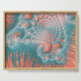 Abstract Coral Reef Living Coral Pastel Teal Blue Texture Spiral Swirl Pattern Fractal Fine Art Serving Tray