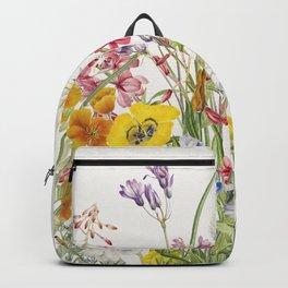 Wild colorful flower vintage illustration background Backpack