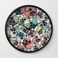 skulls Wall Clocks featuring Skulls by Devin McGrath
