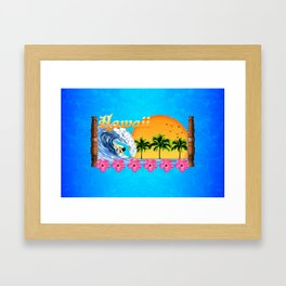 Hawaiian Surfing Framed Art Print