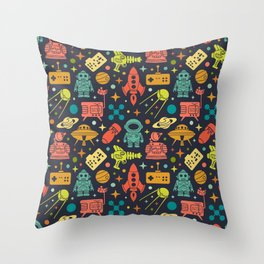 Sci Fi Pattern - A funny gift for a geek who loves science, space, galaxy, and nerd stuff! Throw Pillow