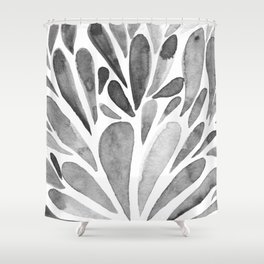 Watercolor artistic drops - black and white Shower Curtain