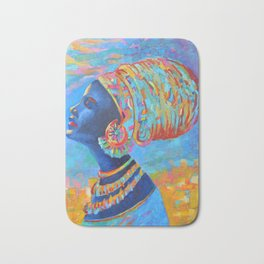Black Woman Painting Africa People Girl in Wrap Color Beautiful Portrait Bath Mat
