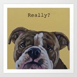 English Bulldog - Really? Art Print