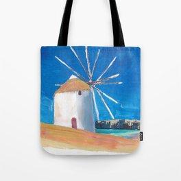 Mykonos Greece Windmill, Sea and Little Venice Tote Bag