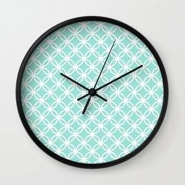 Menthol green and white interlocking circles Wall Clock