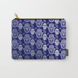 Hamsa Hand pattern - pearl and silver on lapis lazuli Carry-All Pouch