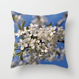 Magic White Cherry Blossom Dream Throw Pillow