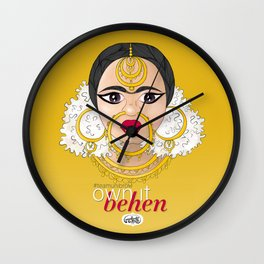Hashtag Team Unibrow - Own It Behen (*Sister) Wall Clock