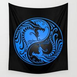 Blue and Black Yin Yang Dragons Wall Tapestry