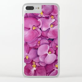 Watercolour Orchid Bloom Clear iPhone Case
