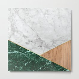 Geometric White Marble - Green Granite & Wood #138 Metal Print