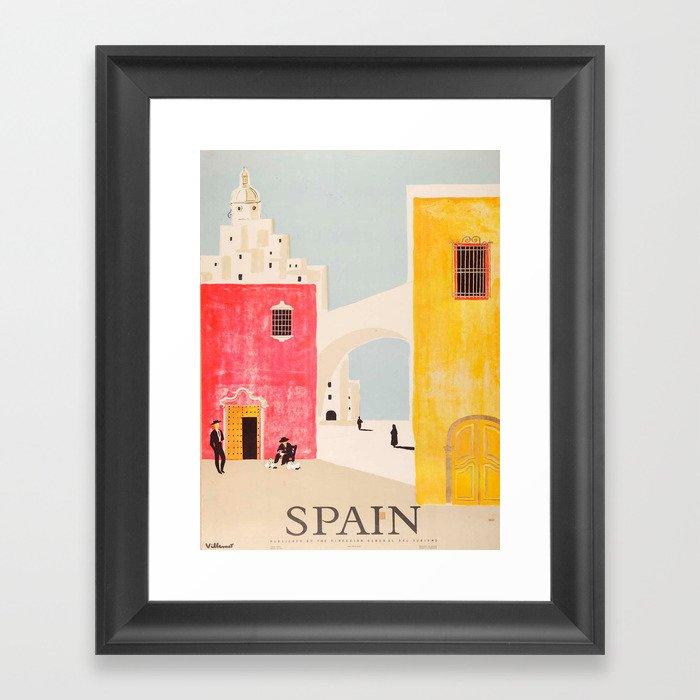 Spain Vintage Travel Poster Mid Century Minimalist Art Gerahmter Kunstdruck