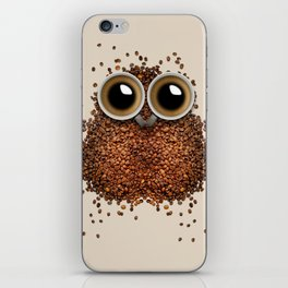 Coffee beans and cups forming owl iPhone Skin