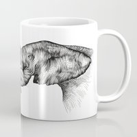 elephants Mugs featuring elephants by Lyudmila Kuguk