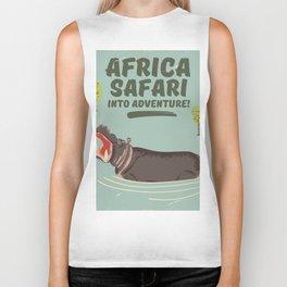 Africa Safari Hippo vintage print Biker Tank