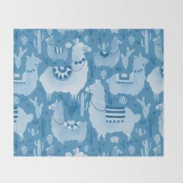Alpacas and cacti Throw Blanket