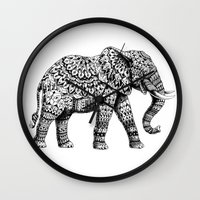 bioworkz Wall Clocks featuring Ornate Elephant 3.0 by BIOWORKZ